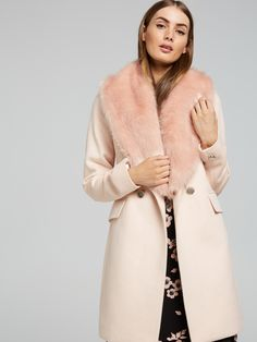 Maysie Double Breasted Coat | Portmans Online Double Breasted Coat, Faux Fur, Fur Coat, Jackets, Fashion, Down Jackets, Moda, Fashion Styles, Fur Coats