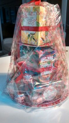 Tea hamper packed with either fruit or regular teas, Tunnocks and Border biscuits