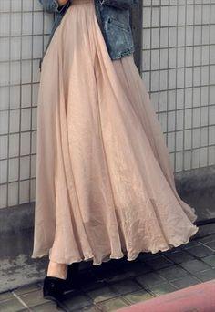 Maxi gauze chiffon skirt - nude color