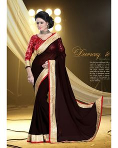 Stutti Fashion Exclusive Brown Color Saree At Rs.1299