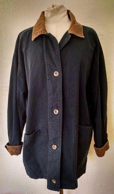 Eddie Bauer Barn Field Chore Coat Womens L Navy Blue Canvas Tan Corduroy Trim  #EddieBauer #Jacket #Casual