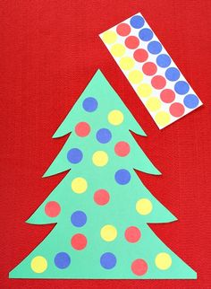 Dot Sticker Color Matching Christmas Tree Activity...great for toddlers!