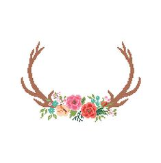 Modern Deer Cross Stitch Pattern cross stitch Floral Antler theme Deer Antlers…                                                                                                                                                                                 More