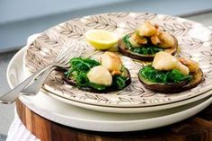 Scallops, grilled eggplant and seaweed