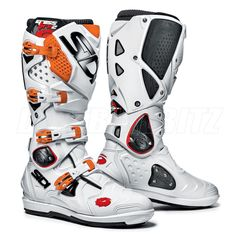 2013 Sidi Crossfire2 Srs Motocross Boots - White Orange - Sidi Motocross Boots - Motocross Boots - Motocross Kit - by Sidi