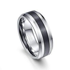 Cartwheel Black and Silver Tungsten Carbide Ring Titanium Rings For Men, Tungsten Wedding Rings, Tungsten Carbide Rings, Mens Silver Rings, Men Rings, Silver Wedding Bands, Mens Ring Sizes, Fashion Rings, Fashion Jewelry