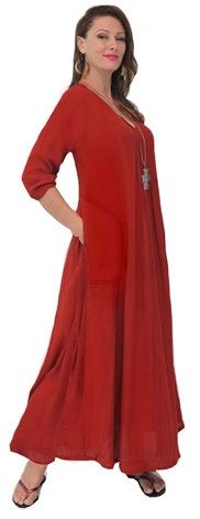 Pleated Pockets 3/4 Sleeve Maxi Dress