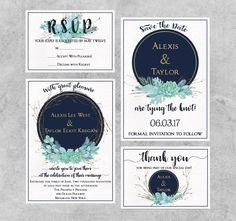 Navy Gold Wedding Invitation, Eucalyptus Greenery Wedding Invitation Suite, Printable Wedding Invitation Set, Rustic Wedding Invitation Set by SeptemberCreationsAE on Etsy