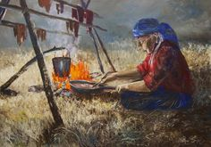 An Allen Sapp painting of his Kokum drying meat and cooking chokecherries over an open fire. North Pheasant Reserve, Saskatchewan - what a wonderful history has left for his people - the Cree and the rest of the people of Canada.