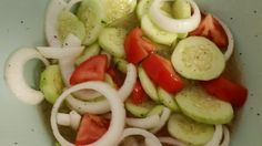 "Marinated Cucumbers, Onions, and Tomatoes - ""Simple and Delicious"" @allthecooks #recipe"