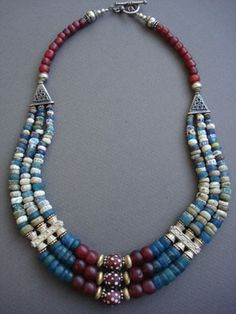 Djenne: rare antique Djenne & African Trade Bead necklace