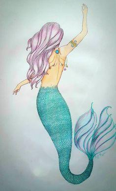 A Swimming Mermaid by pearlrange on DeviantArt Mermaid tattoo – Fashion Tattoos Pretty Mermaids, Unicorns And Mermaids, Mermaids And Mermen, Mermaid Artwork, Mermaid Drawings, Mermaid Tattoo Designs, Mermaid Tattoos, Mermaid Tale, Mermaid Diy