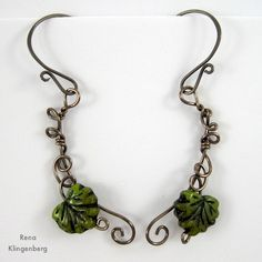 Leaf and Vine Wire Earrings Tutorial by Rena Klingenberg