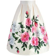 Chicwish Retro Felicitous Peony Printed Midi Skirt (¥4,065) ❤ liked on Polyvore featuring skirts, white, flower skirt, retro midi skirt, chicwish skirts, flower midi skirt and white midi skirts