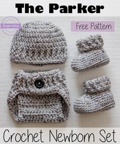 The Parker Crochet Newborn Set | Baby Booties, Newborn Hat, and Diaper Cover | Free Pattern from Sewrella Bear Cubs, Free Crochet, Crochet Baby, Knit Crochet, New Baby Products, Winter Hats, Crochet Patterns, Cubs, Tricot Crochet