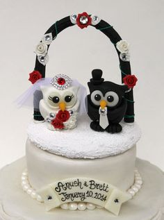 Custom wedding owl cake topper with arch and base by PerlillaPets
