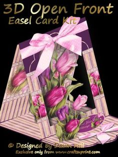 3D Open Front Easel Kit Tulips Bouquet on Craftsuprint designed by Dawn Hill - I hope you like my New 3D Open Front Easel Card Kits, lots of designs and for all occasions