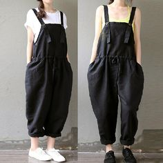 Women casual black loose cotton linen drawstring jumpsuits with pockets pants