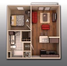 The college apartment doesn't need to feel like a closet. Here, 530 square feet looks lovely with modern hardwoods, simple furnishings, space for washer and dryer, and comfortably sized bathroom.