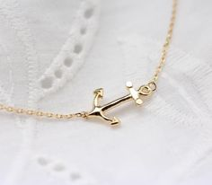 Horizontal Sideways Anchor Necklace in Gold