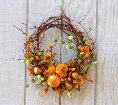 Fall Wreath Bittersweet Gourds Sunflowers AUTUMN par HollyFerencze
