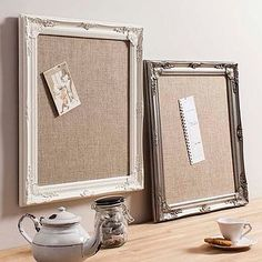 Decorative Framed Hessian Memo Board