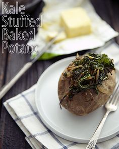 Delicious butter slathered on a kale stuffed baked potato. It doesn't get much better than that.