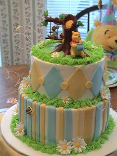 Bottom tier chocolate, top tier banana cake with buttercream.  Fondant decorations and winnie the pooh topper.