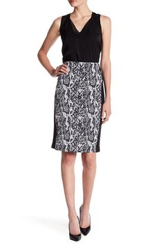 Snake Print Jacquard Pencil Skirt