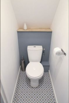 Space Saving Toilet Design for Small Bathroom - Home to Z Small Toilet Decor, Small Downstairs Toilet, Small Toilet Room, Downstairs Cloakroom, Guest Toilet, Bathroom Small, Bathroom Ideas, Bathroom Remodeling, Remodeling Ideas