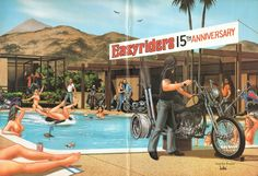 Pool Party Easyriders 15th Anniversary   David Mann biker art centerfold poster removed from a vintage Easyriders motorcycle magazine, matted as shown, ready to insert into a 16 x 20 frame.  Great vintage motorcycle artwork print to decorate your office, garage, basement, rec room, man cave & more! Makes a great gift!  Size including mat: 16 x 20 Image area: approx. 10 x 15   8606ezrxmb