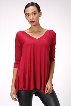 Solid V Neck Loose Top in Red http://therusticrack.com/collections/category-name-long-sleeve-3-4-length-tops-category-path-tops-long-sleeve-3-4-length-tops-category-name-sale-category-path-sale-category-name-tops-category-path-tops/products/solid-v-neck-loose-top-in-red