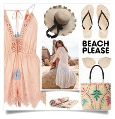"""""""Beach Please: Vacay Outfit"""" by merisa-imsirovic ❤ liked on Polyvore featuring River Island, Reef, Stella & Dot, Zimmermann, Christian Dior, BeachPlease and vacayoutfit"""