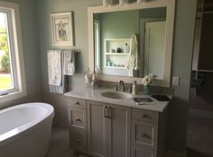 Light, neutral tones make this bathroom feel bright and spacious.