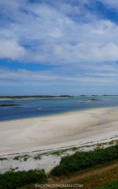 Beach on Tresco Island in the Isles of Scilly looking onto St Martins in the…