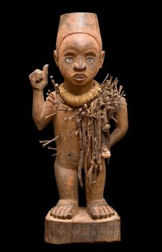 Africa | Fetish figure from the Yombe people of DR Congo | Wood, metal, leather and fibre.