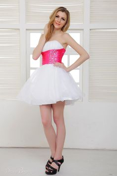 f4871636c33d Cute Corset Bodice A-line Strapless Mini Short Homecoming Prom Dress