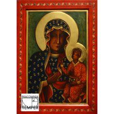 Kopia obrazu Matki Boskiej Częstochowskiej wykonana w Pracowni Temper Madonna Art, Blessed Virgin Mary, Africans, Tempera, Mother Mary, Mona Lisa, Polish, Lady, Artwork