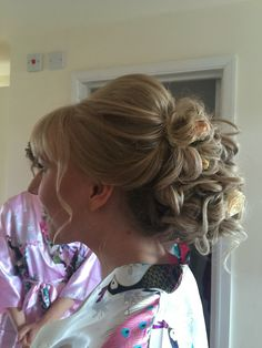 Bridal updo hair by Tracy