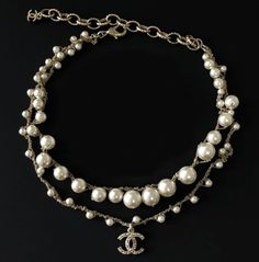 CHANEL CHANEL Pearl Necklace CC Pendant Twisted Double Gold Chain Various sizes pearl double chain link with pearl encrusted CC hardware Cha Pearl Necklace Outfit, Chanel Pearl Necklace, Chanel Pearls, Chanel Earrings, Chanel Jewelry, Pearl Necklace Vintage, Jewellery, Stylish Jewelry, Cute Jewelry