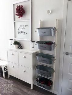 Mudroom bins and IKEA shoe cabinet with new handles …, - Schuh Schrank Ikea Shoe Storage, Ikea Shoe Cabinet, Ikea Organization, Diy Storage, Storage Ideas, Storage Stairs, Hallway Shoe Storage, Organizing, Storage Hacks