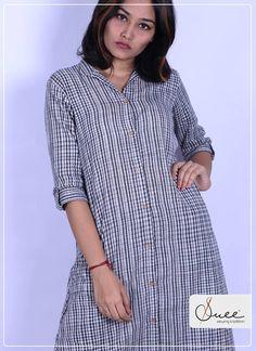 Kannurhandloom - Her Crochet Khadi Kurti, Indian Gowns Dresses, Kurti Neck Designs, Trendy Colors, Half Sleeves, Daily Wear, Organic Cotton, Kerala, Casual
