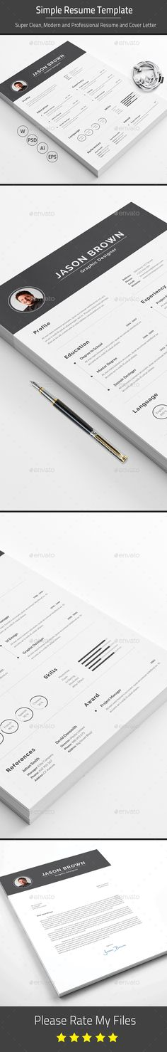 Resume Template PSD, Vector EPS, AI Illustrator, MS Word. Download here: https://graphicriver.net/item/resume/17533782?ref=ksioks