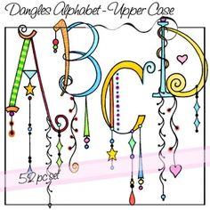 Dangles Alphabet – Upper Case LOTS of cute alphabets, words, etc. to purchase.