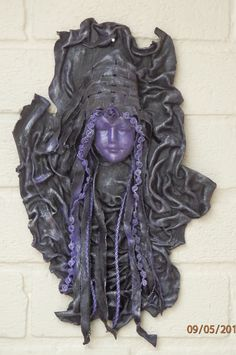 Unique Contemporary Wall Hanging, Lady in Purple, Fabric Sculpture £22.00 Sandra June Sculptures