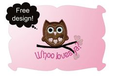Free Embroidery Design: Whoo Loves Ya? - I Sew Free
