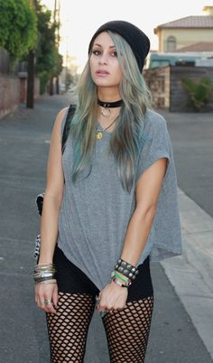 Black beanie, flowy gray top, black shorts, black criss-crossed leggings. Can you say perfection?