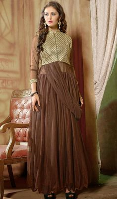 Let your onlookers envy your bedazzling looks as you walk out clad in this brown net embroidered flared long Anarkali suit. The ethnic self work to your attire adds a sign of splendor statement for the look.  #LongLengthAnarkaliDresses