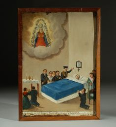 This rare 19th century Italian oil on tin ex-voto represents San Camilo ministering to the sick. According to the partially legible narrative in the lower quadrant, this painting was dedicated to the 'Crowned Mary' on the 14 of April in the year of 1871 for curing mother (name partially obscured) of a serious illness. Displayed in a handsome antique cedar-wood frame.
