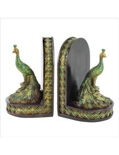 Peacocks book ends.
